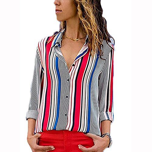 Blouses For Womens,Clearance Sale!!Farjing Womens Casual Long Sleeve Color Block Stripe Button T Shirts Tops Blouse (L, zRed )
