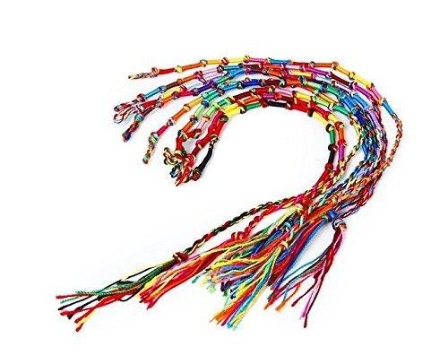 Ourbest 20PCS hippie stile colorato intrecciato amicizia bracciali filo da polso caviglia braccialetto–colore casuale