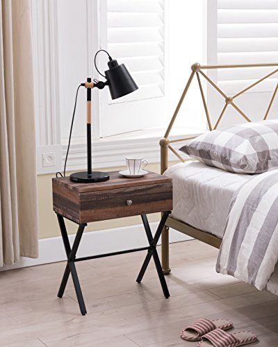 Oak Wide Side Table - /Black Metal X-Frame Nightstand Side End Table with Drawer