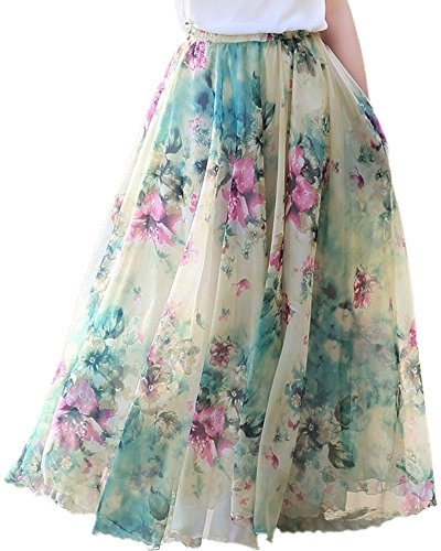 Medeshe Women's Lightweight Floral Holiday Beach Chiffon Maxi Skirt Plus Size