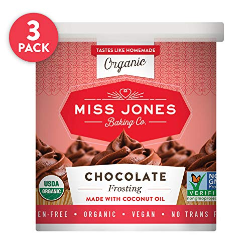Miss Jones Baking Organic Buttercream Frosting, Perfect for Icing and Decorating, Vegan-Friendly: Rich Fudge Chocolate (Pack of 3)