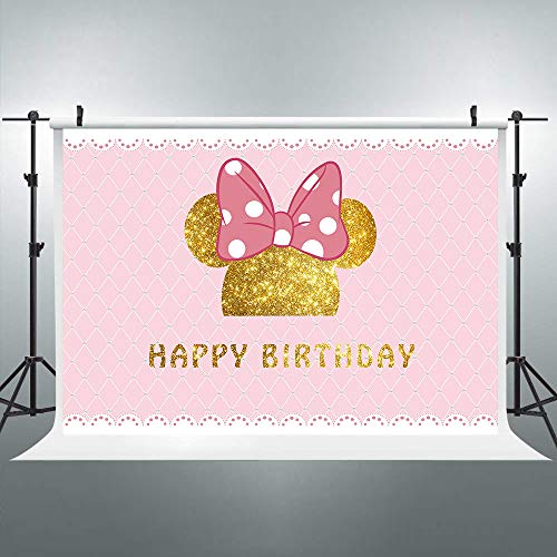 Riyidecor 1st Birthday Backdrop Mouse Polka Dots Pink Princess Girl Photography Background 7x5 Feet Newborn Decoration Celebration Props Party Photo Shoot Backdrop Vinyl Cloth]()