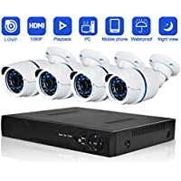 Security Camera System Abowone 4 CH 720P POE Cameras system Indoor & Outdoor with Superior Night Vision & IP66 weatherproof¡