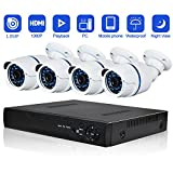 Security Camera System Abowone 4 CH 720P POE Cameras system Indoor & Outdoor with Superior Night Vision & IP66 weatherproof¡­