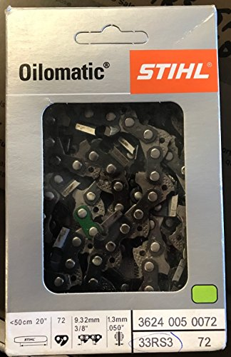 Stihl 33RS3-72 20-inch Chainsaw Chain 3/8 Pitch, .050 Gauge, 72 Drive Lengths