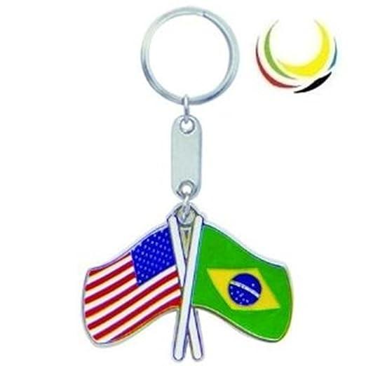 Keychain USA-BRAZIL FLAGS