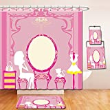 Nalahome Bath Suit: Showercurtain Bathrug Bathtowel Handtowel Girly Decor Lady Sitting in front of French Cosmetic Make-Up Mirror Furniture Dressy Design Picture Pink Yellow