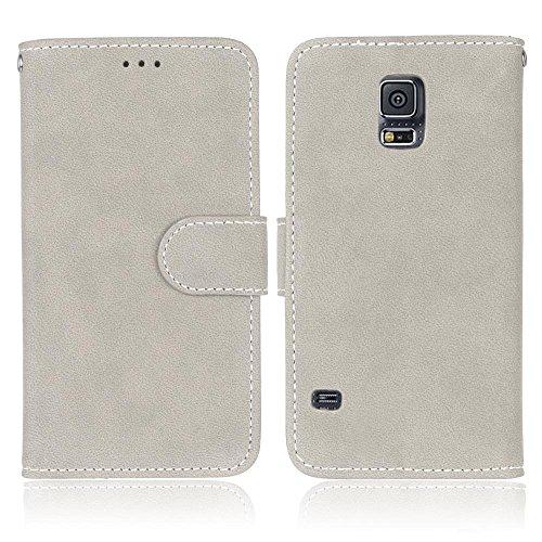 YHUISEN Retro Style Solid Color Premium PU Cartera de cuero Carcasa Flip Folio cubierta protectora de la caja con ranura para tarjeta / Stand para Samsung Galaxy S5 ( Color : Beige ) White