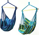 Sunnydaze Hanging Hammock Swing with Two Cushions (Set of 2 - Oasis/Ocean Breeze)