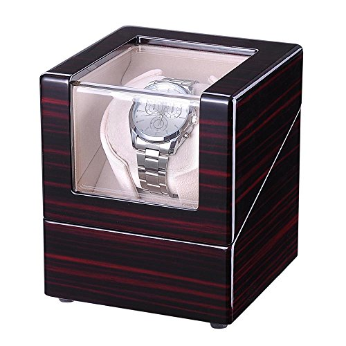 Yeshom Automatic Single Watch Winder Display Box Cherry Wooden White Lint Inside Storage Organizer Case Japan Motor