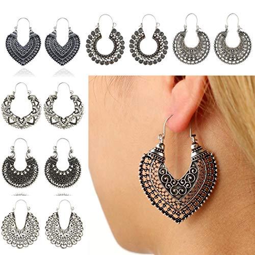 RIBITENS Women Fashion Boho Style Heart Shape Hollow Dangle Drop Earrings Jewelry Gift Drop & Dangle