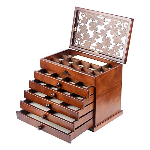 Kendal Real Wood/Wooden Jewelry Box Case (Dark Brown)