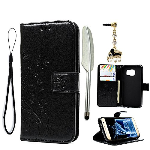 Galaxy S7 Case - MOLLYCOOCLE [Natural Luxury Black] Stand Wallet Purse Credit Card ID Holders Design Flip Folio TPU Soft Bumper PU Leather Clear Ultra Slim Fit Cover for Samsung Galaxy S7