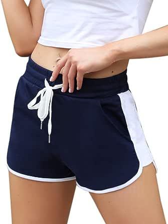 Pantalones Cortos Deportivos para Mujer Entrenamiento Yoga Verano para Hacer Ejercicio Trotar Gimnasio Pijamas Interior Casual Suelto Elástico