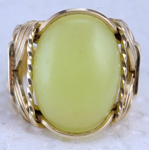 Lemon Nephrite Jade Gemstone Ring Mens Ladies Unisex 14k Gold Filled or Sterling Silver ()