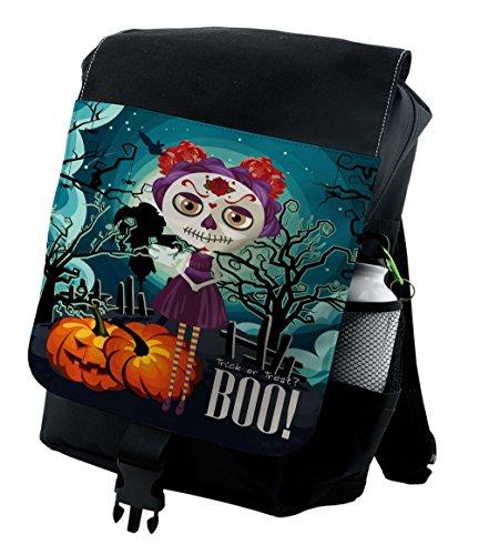 Lunarable Halloween Backpack, Girl Sugar Skull Makeup, Durable All-Purpose Bag]()