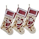 DearSun Christmas Stockings Photo Frame 18'',Santa,Reindeer,Snowman,Gift Bags&Holders,Pack 3pcs