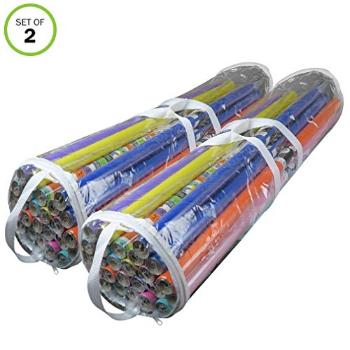 - Evelots Gift Wrapping Bag/Organizer-Clear Plastic-Handles-Up to 50 Rolls-Set/2