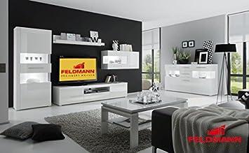 Wohnzimmer 440900 komplett weiß / weiß Hochglanz 6-teilig: Amazon.de ...