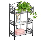 WOLTU 3 Tier Folding Wire Shelf Metal Utility Shelf Bakers Rack Plant Stand Bathroom Kitchen Living Room Garage Storage Organizer,Black,SR10blk-a
