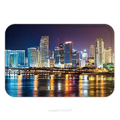 Flannel Microfiber Non-slip Rubber Backing Soft Absorbent Doormat Mat Rug Carpet Downtown Miami Night City 263457101 for - Place Miami City