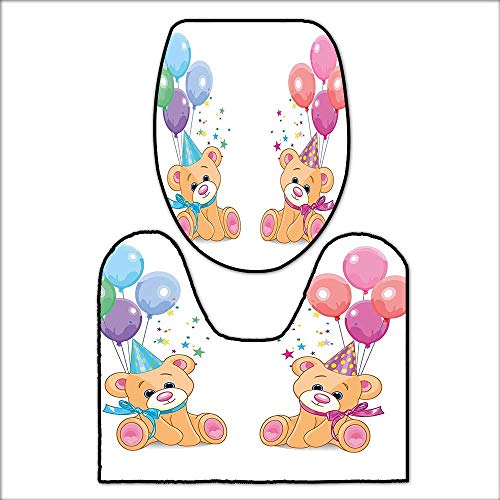 qianhehome Non-Slip Bath Toilet Mat Cute Teddy Bears Sitting with Party Baloons Celebration Kids Toys Funny Design for Multicolor. with High AbsorbencyL20.5 x W19-W14 x H16 -