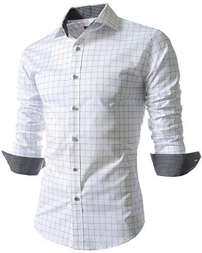 Long Plaid Sleeve Shirt Dress (Benibos Men's Casual Long Sleeve Plaid Slim Fit Dress Shirts (M, 5039White))