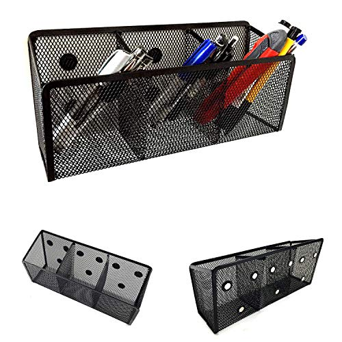 Magnetic Pencil Holder - Magnetic Marker Holder - Storage Basket for Office Pens, Whiteboard Markers, School Locker and Cubicle Accessories - Pen Cup and Caddy - 3 Compartments with 9 Strong Magnets