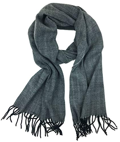 Check and Solid Cashmere Feel Winter Scarf (Black Herringbone) ()