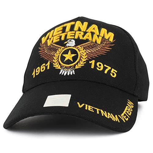 Armycrew Vietnam Veteran 1961 to 1975 Eagle Star Embroidered Baseball Cap - Black ()