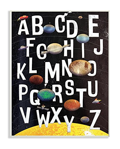 The Stupell Home Decor Collection Alphabet Milky Way Planets Wall Plaque Art, 10 x 15, - Wall Dcor Plate