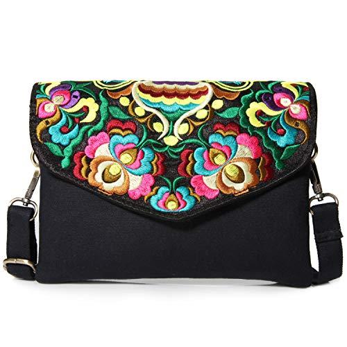 Flowers Embroidered Crossbody Bag for Women Girls, Multi Pockets Medium-sized Messenger Bag Handbag (C01: Size -