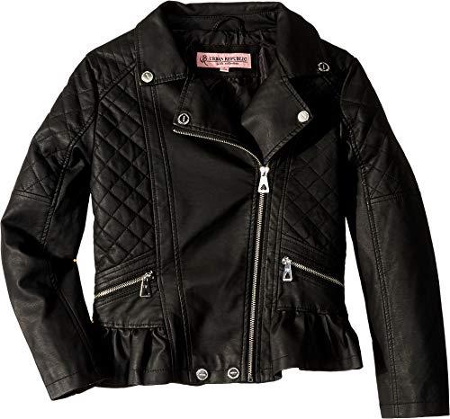 Urban Republic Kids Girl's Faux Leather Moto Jacket (Little Kids/Big Kids) Black 14 (Urban Moto Jacket)