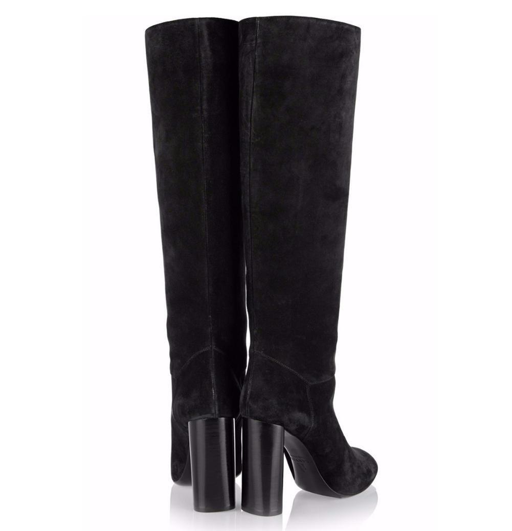 Femmes hiver hiver Suede main, et genou Bottes noir et main, pompeB0761X1X3QParent 26c0fd