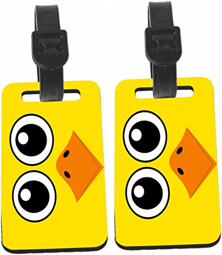 Rikki Knight Duck Cartoon Face Design Luggage Identifier Tag (1-sided) - with Strap Closure (Set of 4)
