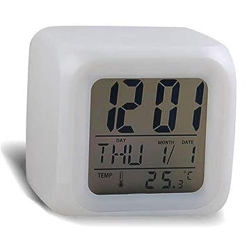 Maolanku - Reloj digital con alarma y termómetro con diseño de cubo, led de 7 colores: Amazon.es: Hogar