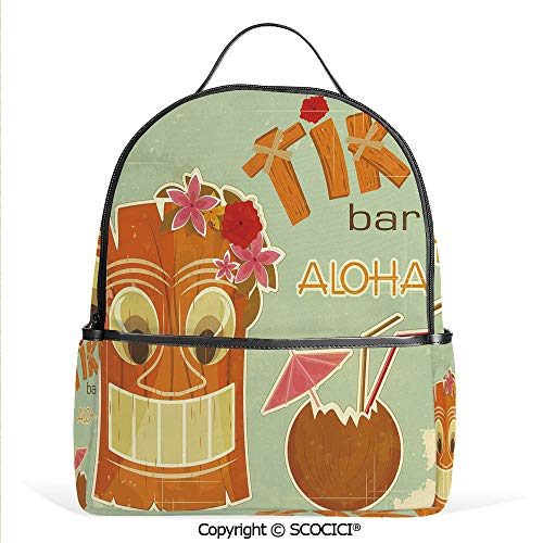 All Over Printed Backpack Invitation to Tiki Bar Old Fashion Display Coconut Drink Mask Flowers Print Decorative,Multicolor,For Girls Cute Elementary School Bookbags -