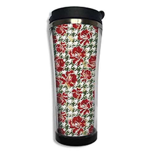 Stainless Steel Insulated Coffee Travel Mug,Spill Proof Flip Lid Insulated Coffee cup Keeps Hot or Cold 14.2oz(420 ml)Customizable printing byFloral,Vintage Classic with Scottish Houndstooth Vivid Ros