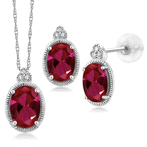 Gem Stone King 1.96 Ct Oval Red Created Ruby and Diamond 10K White Gold Pendant Earrings Set