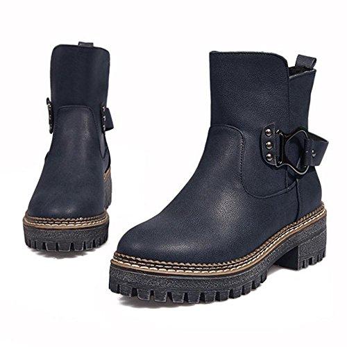 RAZAMAZA Women Warm Boots Pull On Blue unu8r6m