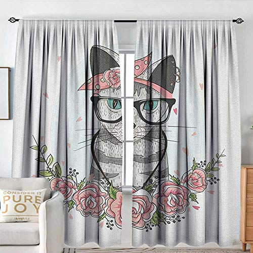 (Sillgt Kitten Doorway Curtain Hipster Cool Cat with Spectacles Scarf Necklace Earrings and Flowers Little Hearts Blackout Draperies for Bedroom W 120