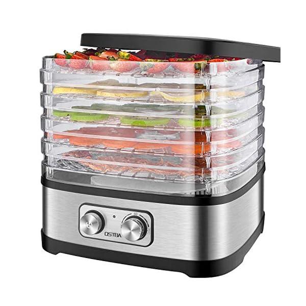 Essiccatore frutta e verdura OSTBA,5 vassoi,Disidratatore per Alimenti,Essiccatore Alimentare,Temperatura regolabile(35… 1