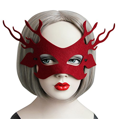 Elk Costume Mask for Women Cute, Halloween Masquerade Funny Animal Masks (Dark Red) - Pretty In Pink Movie Dress Costume
