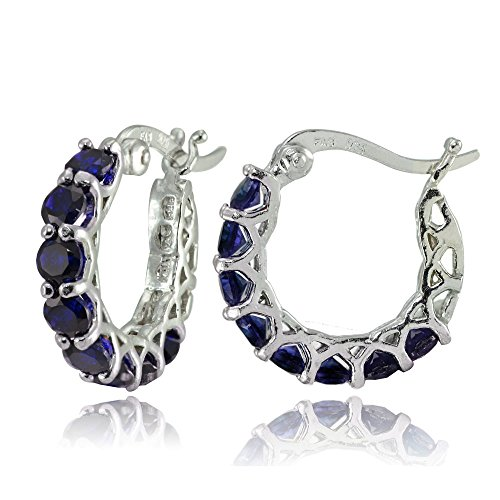 Sterling Silver Created Blue Sapphire Small Round Huggie Hoop Earrings