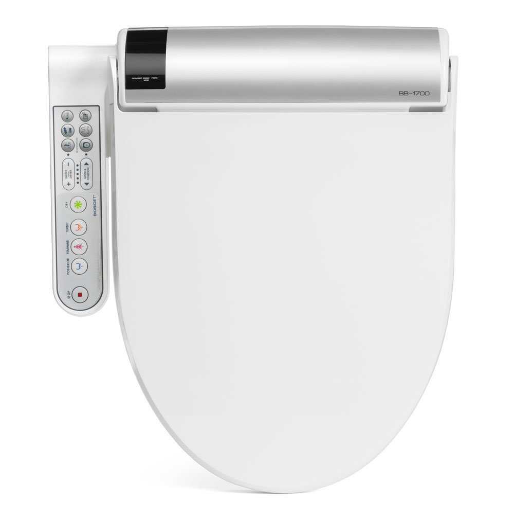 BioBidet BLISS BB-1700 Elongated White Bidet Toilet Seat with Warm Water, Hybrid Heating Hydroflush Technology, Side Panel, Posterior and Feminine Wash Self Cleaning Electric Bidet Easy DIY Installation by BioBidet
