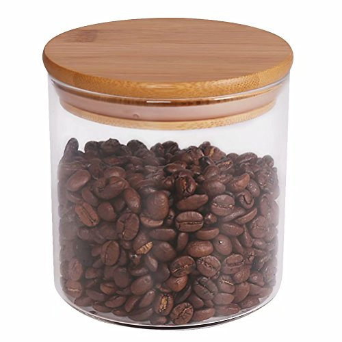 (Food Storage Jar, 18.6 FL OZ (550 ML), 77L Glass Food Storage Jar with Airtight Seal Bamboo Lid - Modern Design Clear Glass Food Storage Canister for Serving Tea, Coffee, Spice and More)