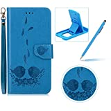 Strap Leather Case for Samsung Galaxy S6 Edge,Flip Smart Cover for Samsung Galaxy S6 Edge,Herzzer Stylish 2 in 1 Design Elegant Blue Couple of Birds Flower Embossed Stand Folio Case with Detachable TPU Back Cover