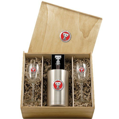 Texas Tech University Wine Glasses Gift Set with Wine Stopper and Chiller by Heritage Pewter