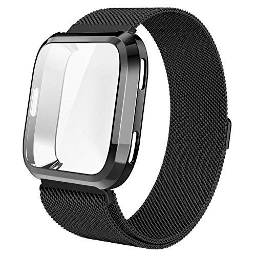 (Tomplus for Fitbit Versa Accessory Band, Scratch-Resistant Soft Flexible TPU Plated Protective case+Milanese Loop Stailess Steel Band for Fitbit Versa Smart Watch Women (Black, Small 5.3