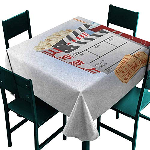 (Sunnyhome Stain Resistant Square Tablecloth Movie Theater Soda Tickets Fresh Popcorn and Clapper Board Blockbuster Premiere Cinema for Events Party Restaurant Dining Table Cover 36x36 Inch Multicolor)